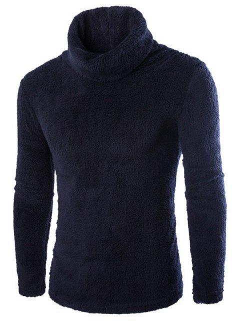 shop Fuzzy Turtleneck Fleece Sweater - BLACK L Mobile