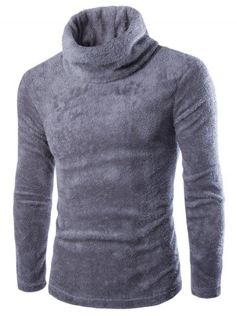 chic Fuzzy Turtleneck Fleece Sweater - GRAY M Mobile