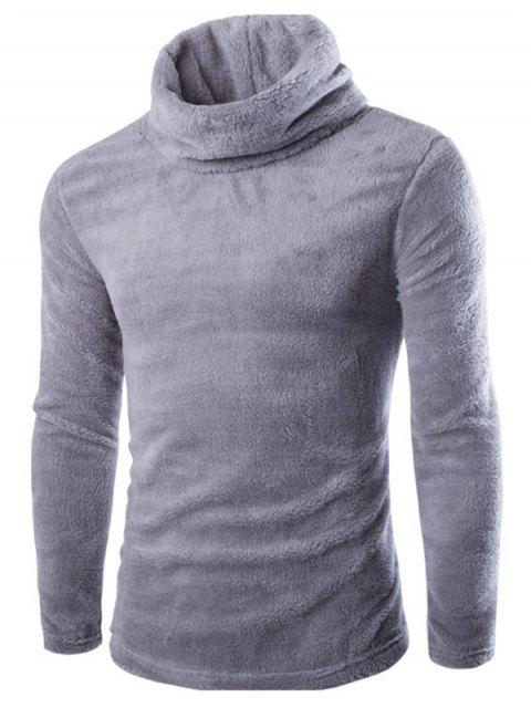 unique Fuzzy Turtleneck Fleece Sweater - LIGHT GRAY L Mobile