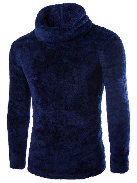 women Fuzzy Turtleneck Fleece Sweater - CADETBLUE M Mobile