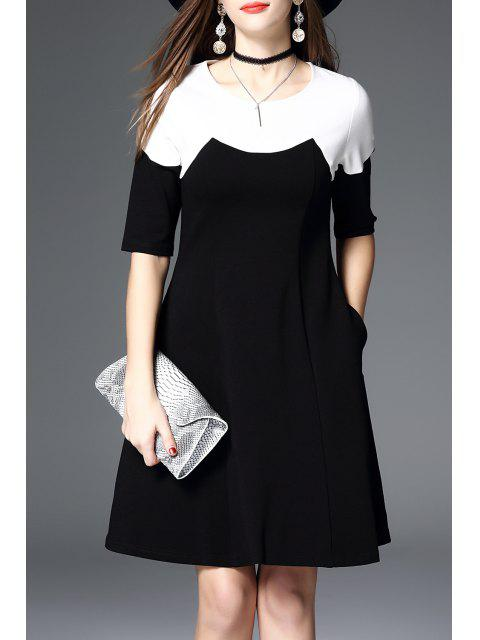 outfit Color Block A Line Swing Dress - BLACK S Mobile