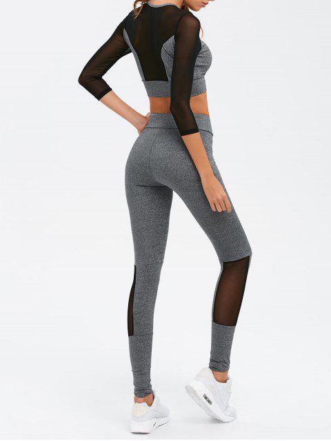 women Mesh Spliced Skinny Sport Suit - GRAY S Mobile