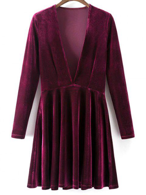 womens Velvet A-Line Dress - WINE RED L Mobile