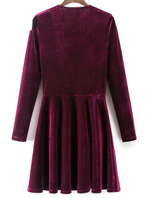 womens Velvet A-Line Dress - WINE RED L Mobile
