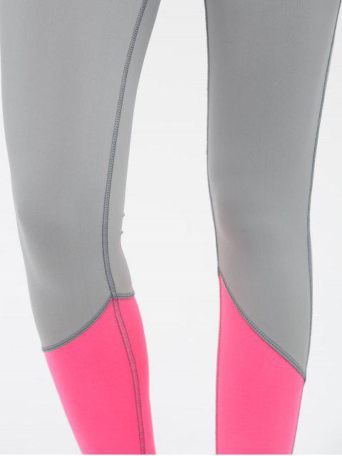 online Color Block High Waist Skinny Yoga Leggings - ROSE RED L Mobile