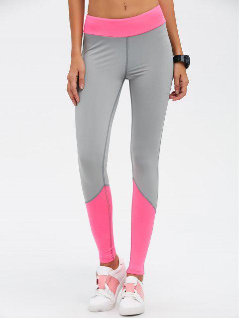 online Color Block High Waist Skinny Yoga Leggings - ROSE RED L Mobile
