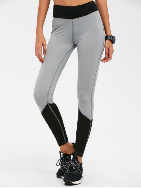 shop Color Block High Waist Skinny Yoga Leggings - BLACK S Mobile