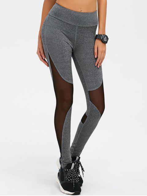 shops Mesh Spliced High Waist Skinny Yoga Leggings - GRAY L Mobile