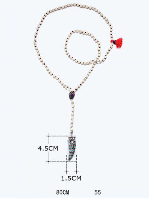 trendy Bohemian Ox Horn Beaded Sweater Chain -   Mobile