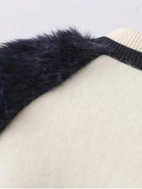 hot Faux Fur Panel Stand Neck Coat - WHITE M Mobile