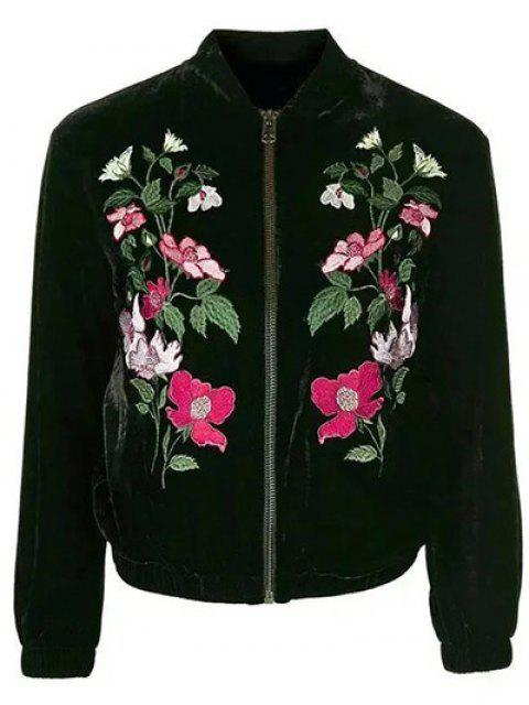 affordable Flower Embroidered Velvet Jacket - BLACK L Mobile