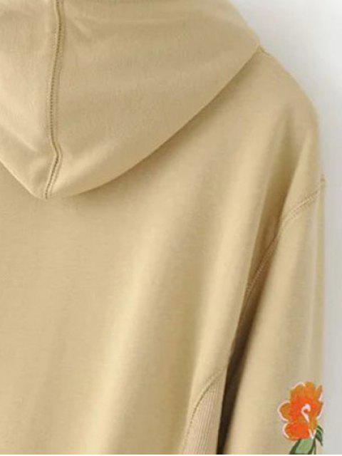 ladies Front Pocket Floral Embroidered Hoodie - GRAY S Mobile
