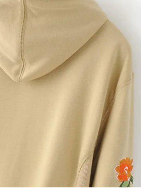 lady Front Pocket Floral Embroidered Hoodie - BLACK L Mobile