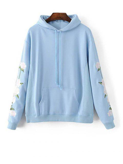 new Front Pocket Floral Embroidered Hoodie - AZURE L Mobile