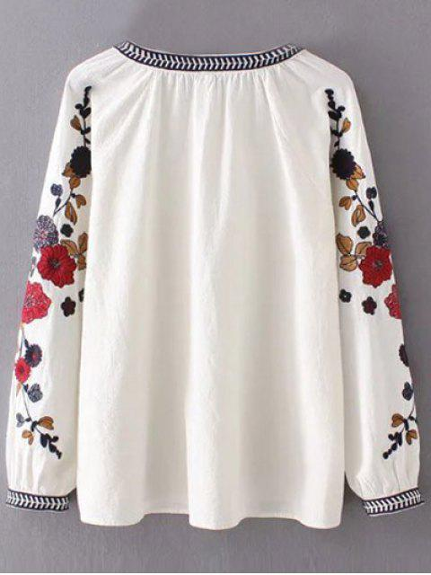 hot Flower Embroidered Blouse - WHITE L Mobile
