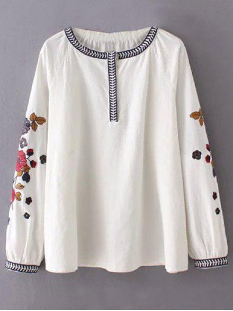 Flor bordada túnica de la blusa - Blanco S Mobile