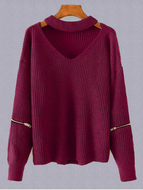 women's Plus Size Cut Out Chuky Choker Sweater - BURGUNDY ONE SIZE Mobile