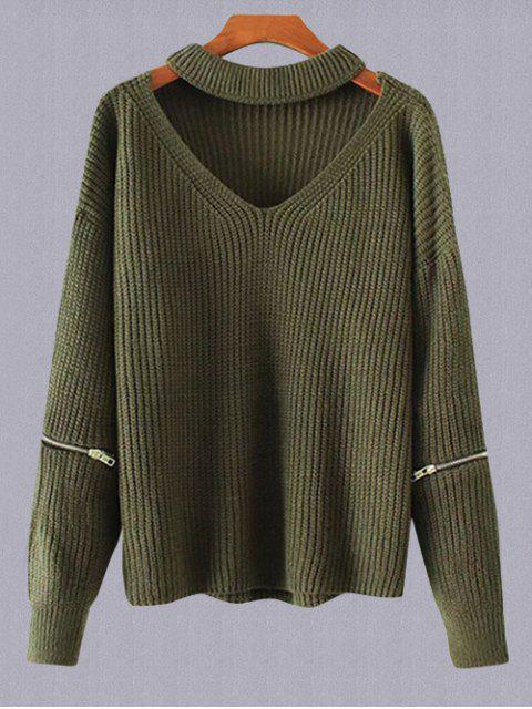 lady Plus Size Cut Out Chuky Choker Sweater - ARMY GREEN ONE SIZE Mobile
