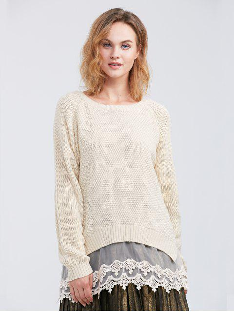 fashion Raglan Sleeve Lace Panel Pullover Sweater - OFF-WHITE M Mobile