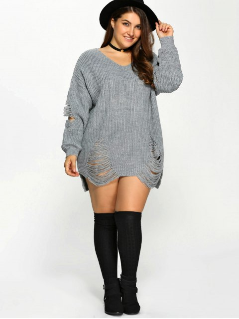 fashion Plus Size Distressed Longline Pullover Sweater - GRAY XL Mobile