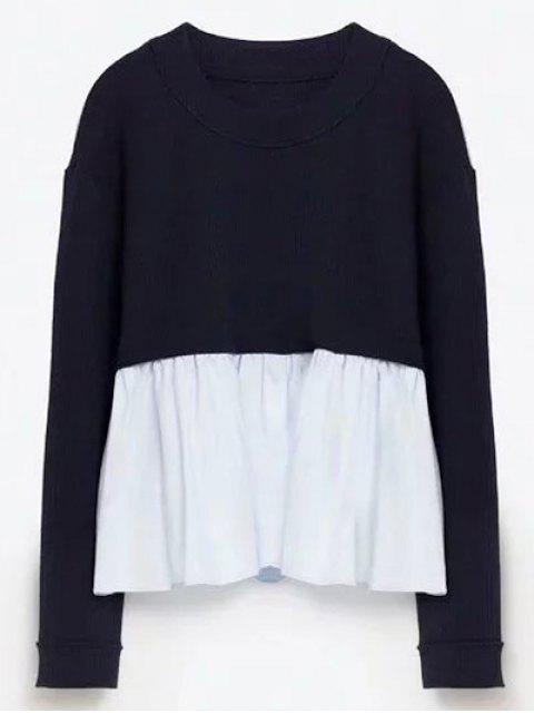 online Round Neck Ruffles Panel Sweater - PURPLISH BLUE L Mobile