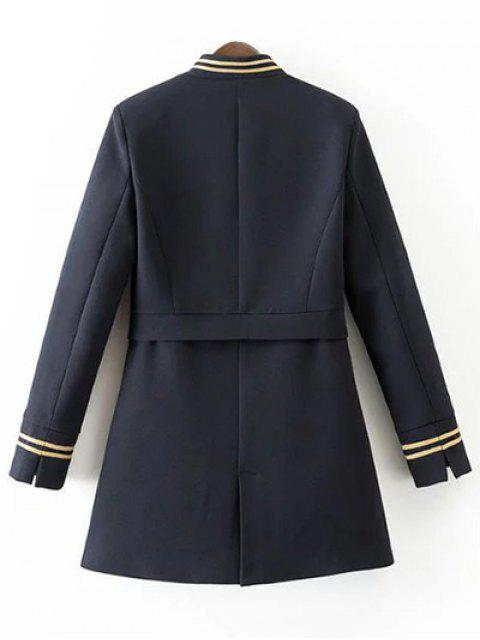 outfits Single-Breasted Stand Neck Coat - DEEP BLUE L Mobile