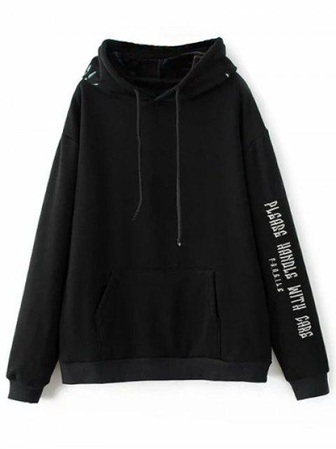 fashion Graphic Floral Embroidered Hoodie - BLACK S Mobile