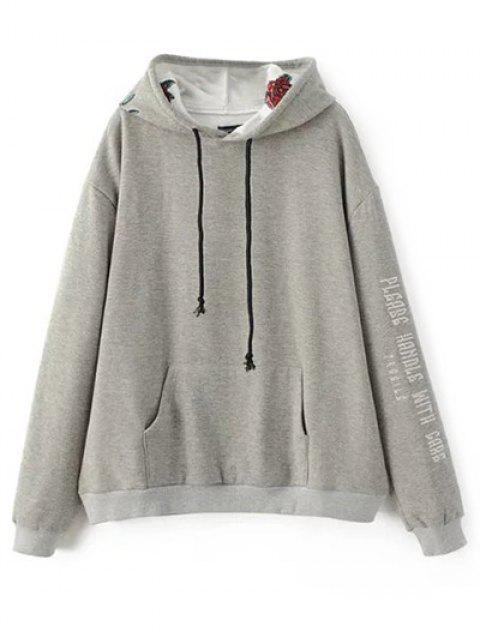 unique Graphic Floral Embroidered Hoodie - GRAY S Mobile
