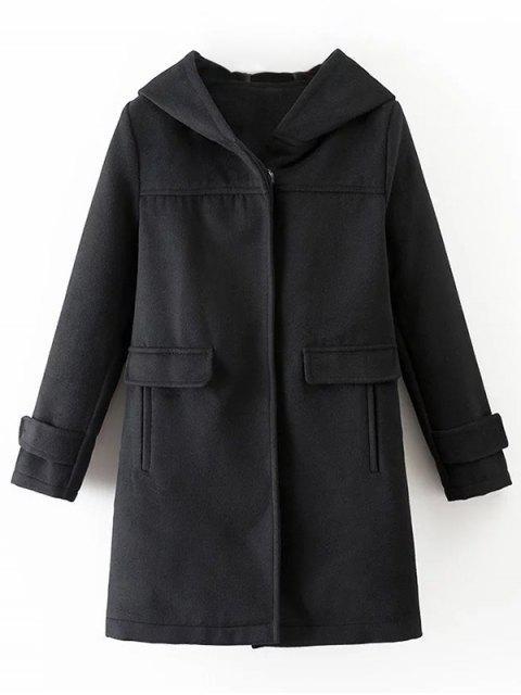 latest Hooded Pockets Wool Blend Coat -   Mobile