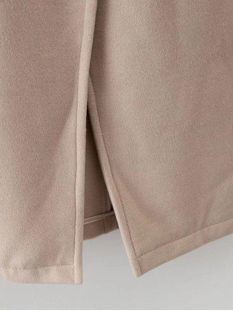 trendy Hooded Pockets Wool Blend Coat - BLACK M Mobile