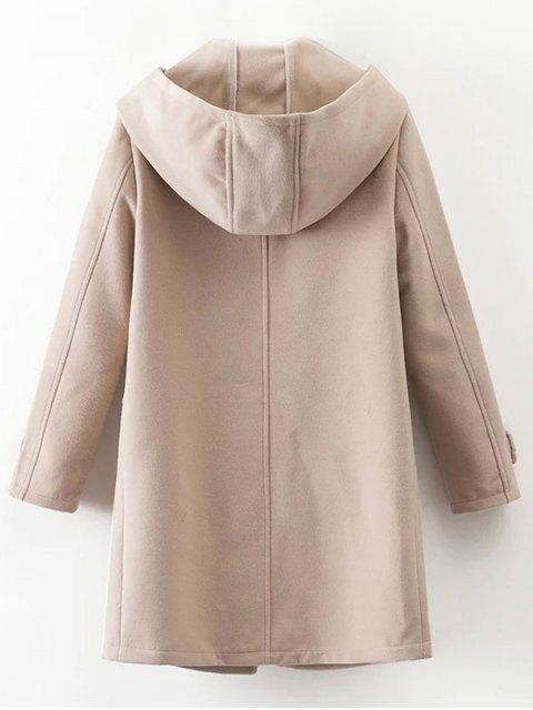 chic Hooded Pockets Wool Blend Coat - APRICOT L Mobile