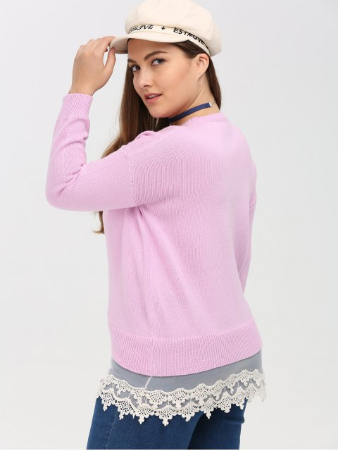 women's Lace Insert Crew Neck Plus Size Sweater - PINK 2XL Mobile