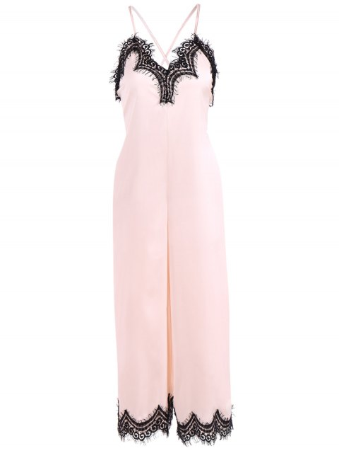 lady Criss Back Lace Spliced Jumpsuit - PINKBEIGE S Mobile