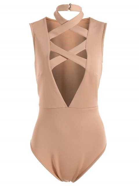 shops Plunging Neck Crisscross Strap Bodysuit - APRICOT S Mobile