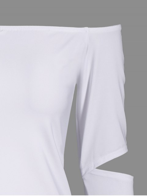 Robe moulante épaule dénudée manche longue - Blanc M Mobile