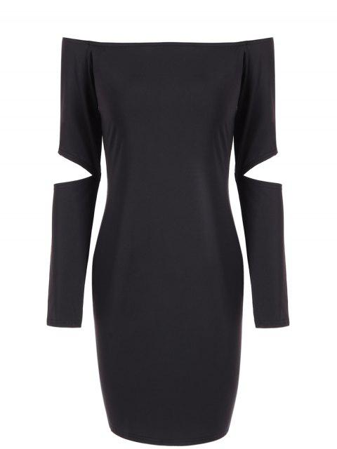sale Off The Shoulder Long Sleeve Bodycon Dress - BLACK XL Mobile