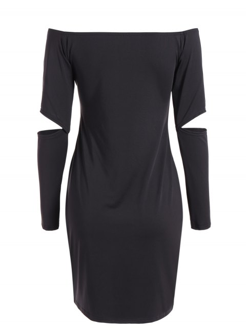 buy Off The Shoulder Long Sleeve Bodycon Dress - BLACK M Mobile