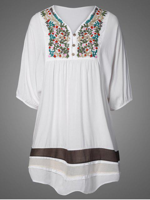buy Embroidered Bib Tunic Dress - WHITE ONE SIZE Mobile