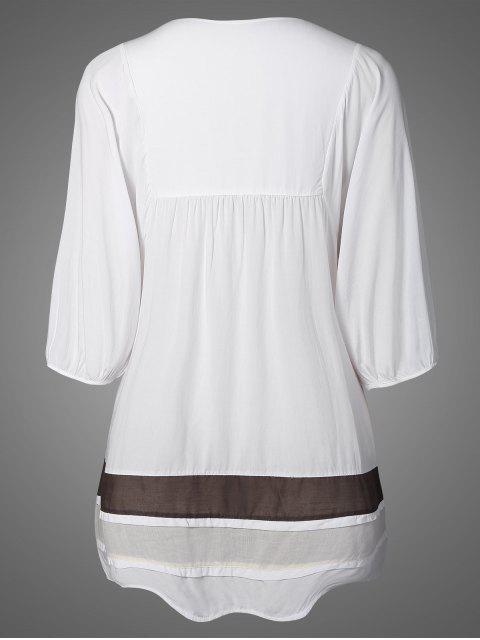 Robe A line brodée décontractée - Blanc TAILLE MOYENNE Mobile