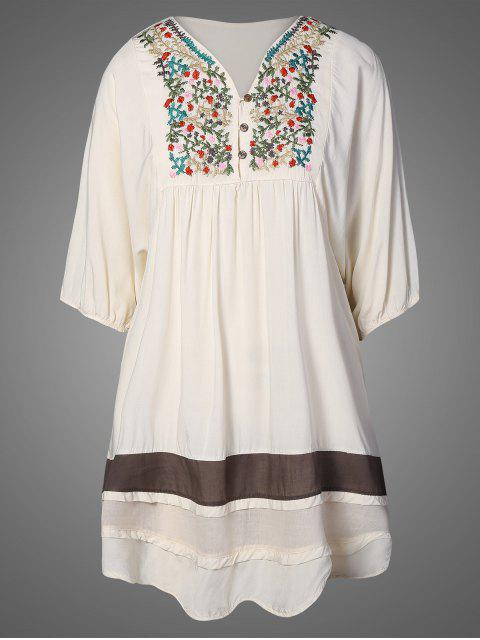 womens Embroidered Bib Tunic Dress - APRICOT ONE SIZE Mobile