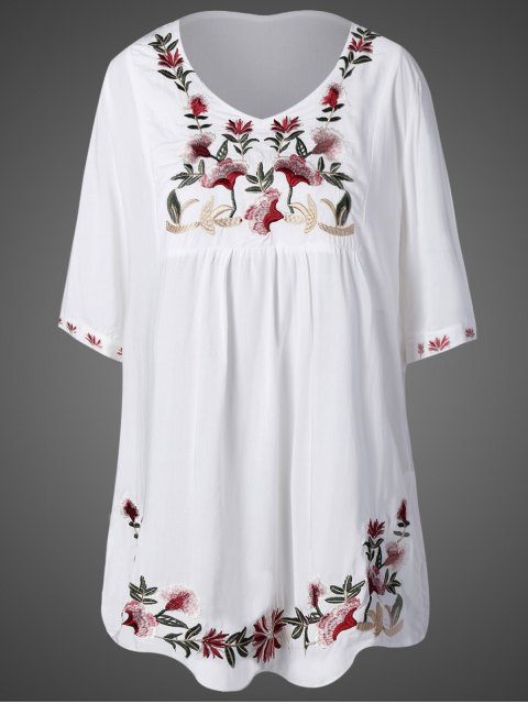 best Embroidered Bib Maternity Dress - WHITE ONE SIZE Mobile