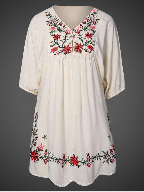 fancy Floral Embroidered Bib Tunic Dress - APRICOT ONE SIZE Mobile