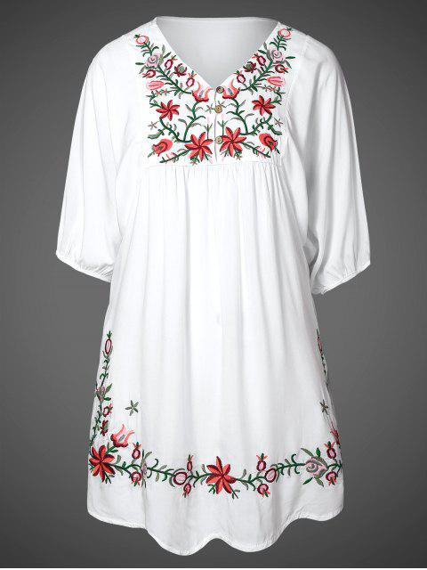 womens Floral Embroidered Bib Tunic Dress - WHITE ONE SIZE Mobile