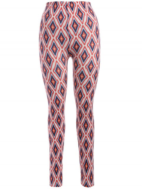 unique Argyle Leggings - RED ONE SIZE Mobile