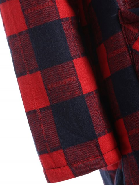 women's Hooded Plus Size Plaid Fleeced Coat - RED 2XL Mobile