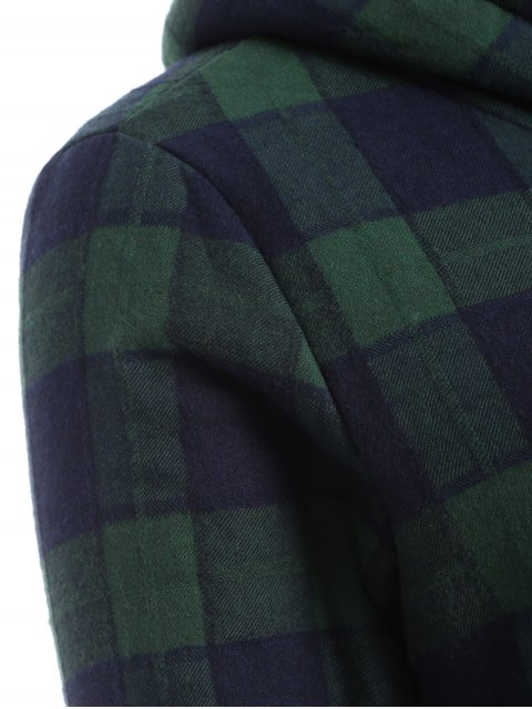 best Hooded Plus Size Plaid Fleeced Coat - BLUE AND GREEN 2XL Mobile