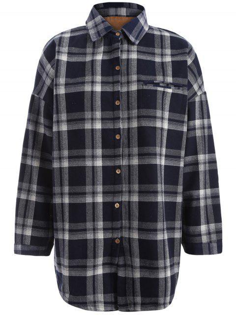women's Plus Size Plaid Fleece Lined Shirt - BLACK 4XL Mobile