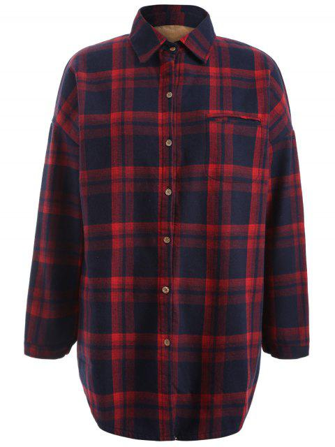 outfit Plus Size Plaid Fleece Lined Shirt - WINE RED XL Mobile