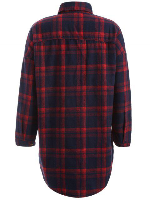 hot Plus Size Plaid Fleece Lined Shirt - WINE RED 2XL Mobile