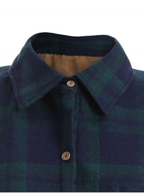 shops Plus Size Plaid Fleece Lined Shirt - GREEN 2XL Mobile